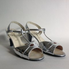 Clarks Wessex Cheryl Silver Leather Vintage 1960s High Heel T Bar Sandal UK 6.5