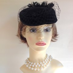 Vintage 1950s Hand Trimmed Black Cotton Velvet Pillbox Hat With Feather Trim & Net