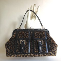 XOXO Leopard Faux Fur Framed Handbag With Black Leather Handle Trim & Red Lining