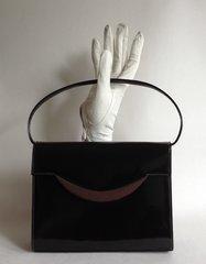 Rayne Brown Patent Leather 1960s Vintage Handbag Leather Lining & Mirror