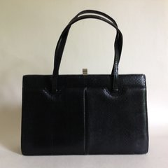 Black Lizard Skin 1950s Vintage Handbag With Black Leather Lining