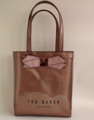 Ted Baker Bronze Small Plastic Shopping Tote Bag.