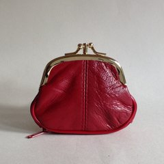 Small Reproduction Vintage 1950s Red Leather Coin Purse With Gold Toned Frame And Red Fabric Lining