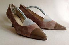Hobbs Taupe Mid Heel Kitten Heel Suede Patent Court Shoe Size UK 6.5 EU 39.5