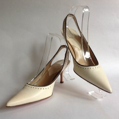 "Hobbs Ivory Leather Pointed Slingback 3.5"" Stiletto Court Shoes Size UK 7 EU 40"