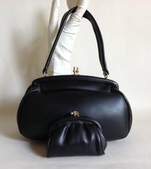 MacLaren Soft Black Vinyl 1960s Vintage Handbag Black Rayon Lining & Coin Purse