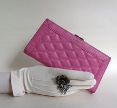 Saddler Pre Loved Hot Pink Large Quilted Leather Purse Wallet Fabric Lining