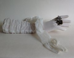 """Quality Vintage 1950s Ivory Stocking Nylon 14"""" Rusched Opera Evening Gloves Size 6.5 Aprox"""