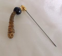"Vintage Large Drop Spiral Gold Toned 3.5"" Hatpin With 3"" Steel Pin Hat Pin"