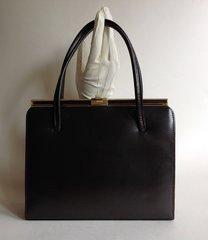 Jonelle 1950s Brown Leather Vintage Handbag Suede Lining Elbief Frame Kelly Bag