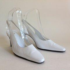"Kurt Geiger Pearlescent White Leather 3.25"" Heel Sling Back Shoe Size UK 3.5 EU 36.5"