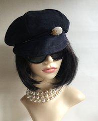 Baker Boy Cap Blue Beret 1970s Vintage Inspired Retro Suede