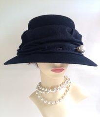 Black Wool Felt Front Brim Hat With Black Scrunched Felt Ribbon Decoration
