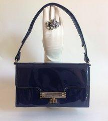 MacClaren Blue Patent 1960s Handbag Shoulder Bag With An Adjustable Strap and Blue Fabric Lining