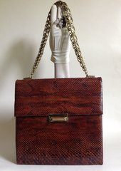 Large Restored 1960s Chestnut Snake Skin Vintage Handbag Beige Leather Lining