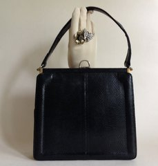 William Yeung 1940s Lizard Black Vintage Handbag Buff Suede Lining