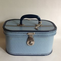 Vintage 1950s Blue Checked Vanity Train Case Dark Blue Trim & Lining & Key