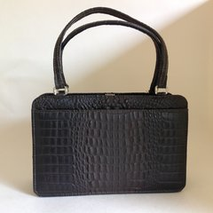 1960s Brown Faux Moc Croc Leather Vintage Handbag Fabric Lining Steel Fittings