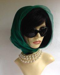 Green Vintage 1960s Silk Chiffon Scarf Rolled & Stitched Hem
