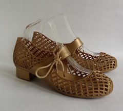 Melissa Gold Rubber Round Toe Lattice Side Tie Mary Jane Shoes Size UK 7 EU 40