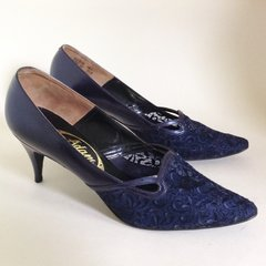 Adam Vintage 1950s Rockabilly Blue Pearlescent Leather & Lace Almond Toe Court Shoe UK 5.5 EU 38.5 Vintage Size 70 B