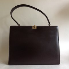 Freedex 1950s Rich Brown All Leather Large Vintage Handbag Suede Lining