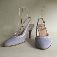 "Hobbs Mauve Lilac Suede Slingback 3.5"" Heel Shoe Leather Sole UK 3 EU 36"