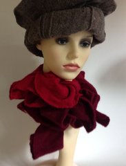 Vintage Burgundy And Claret Variated Fine Knit Twisted Winter Dress Scarf Neck Wrap