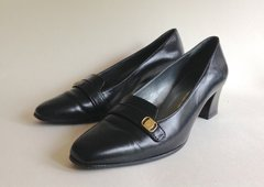 Helio Design Black All Leather Mid Heel Business Loafer Court Shoe UK 4.5 EU 37.5 US 6.5B