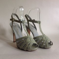 "Russell & Bromley Grey Platform Leather 4.75"" High Heel Sandal UK 4.5 EU 37.5"