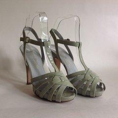 "Russell & Bromley Grey Platform Leather 4.75"" High Heel Sandal UK 4.5 EU 37.5"