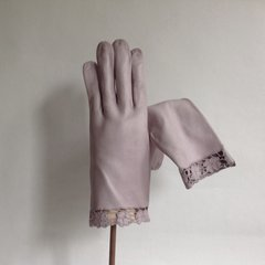 1960s Vintage Pale Lilac Leather Gloves With Flower Leather Lace Wrist Detail Size Small 6