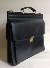 Salisbury's Large Black Leather Vintage 1970s Briefcase Bag Fabric Lining & Key
