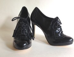 Principles by Ben De Lisi Victorian Style Black Faux Leather Lace Up Booties Shoes UK 3 EU 36
