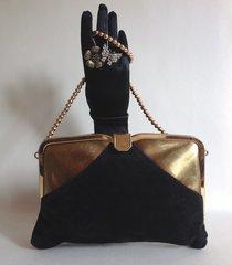 Black & Gold Vintage Suede & Leather Clutch Shoulder Bag Gold Beaded Strap 1970s