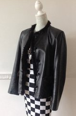 Leather Sound Ladies Black Leather Hip Length Single Breasted Jacket Size 12