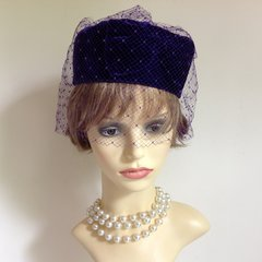 Royal Purple Velvet Vintage 1960s Pill Box Hat With Bow And Spotted Over Net