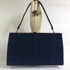 PETER LORD Blue Leather & Swiss Lace 1950s Vintage Handbag Blue Rayon Lining