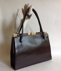 Brown Leather 1950s Vintage Handbag With Buff Suede Lining Elbief Frame Mad Men