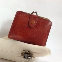 Whisky Tan Leather 1950s Vintage Coin Purse Mini Wallet Whisky Tan Leather Lining