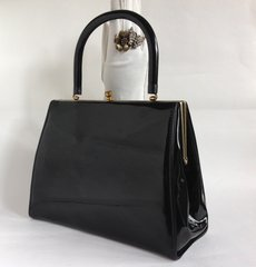 St Michael Black Faux Patent 1960s Boxy Go Go Mod Vintage Handbag With Black Fabric Lining