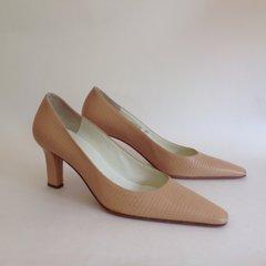 Bruno Magli Nude Beige Lizard Print All Leather High Heel Court Shoe UK 4 EU 37