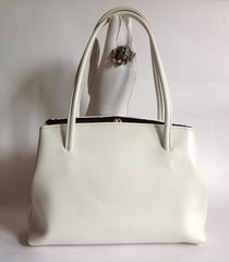 Off White 1960s Faux Leather Vintage Handbag GoGo Mod With Black Fabric Lining And Elbief Frame