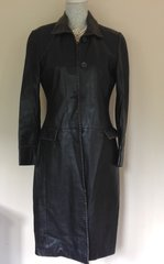 Fiorelli Ladies Black Leather Knee Length Single Breasted Coat Size 10