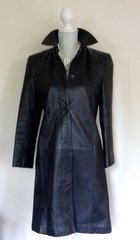 Marks And Spencer Ladies Black Leather Coat Knee Length Single Breasted Size 10