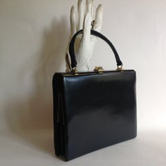 Well Loved Twin Sided Calf Leather 1950s Vintage Handbag Leather & Suede Lining