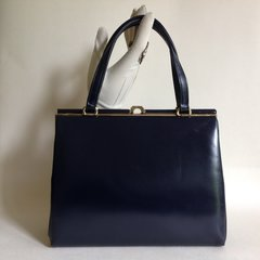 Fassbender 1950s Blue Calf Leather Vintage Handbag Suede Lining Kelly Bag MadMen