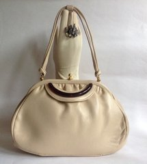 1960s Vintage Mod Go Go Ivory Leather Handbag Kelly Bag With Cream Fabric Lining