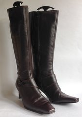 "Gabor Brown Leather Zip Up 2.5"" Slim Heel Knee High Fabric Lined Boots Size 5.5 EU 38"