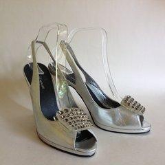Warehouse Silver Leather Platform Slingback Peep Toe Diamanté Shoe UK 7 EU 40